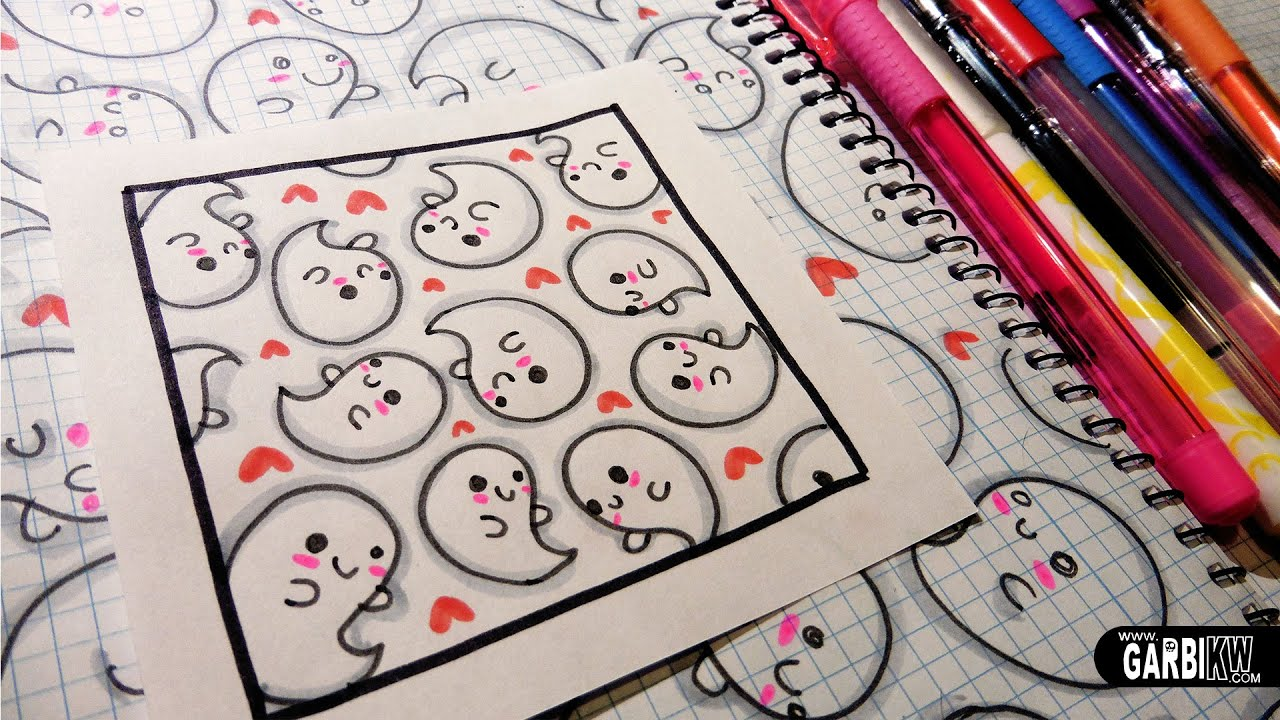 Cute ghosts how to draw patterns for your doodles by for Cute easy patterns to draw