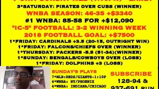 FREE NFL PICKS, 7-UNIT MLB @ 1:10PM - EARLY, WINNING FOOTBALL WEEK [08-19-18]