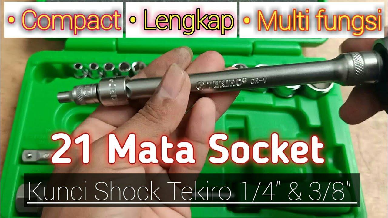 """Kunci shock tekiro Multi Fungsi versi 21 mata socket 1/4"""" , 3/8"""" speck lengkap"""