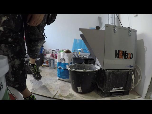 Testissä H&H 800 alipaineistaja laastin sekoitukseen