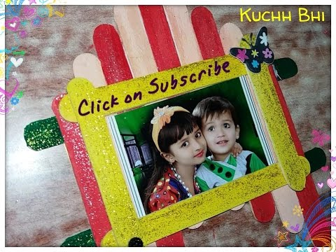Craft Ideas - How To Make Photo Frame From Ice Cream Stick ...