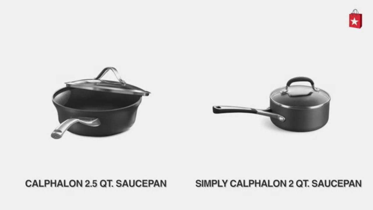 calphalon nonstick 25 qt covered shallow saucepan comparison video