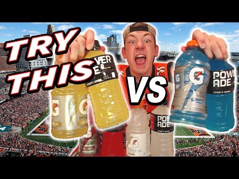 GATORADE VS POWERADE SPORTS DRINK TASTE TEST (YOU SHOULD TRY THIS)