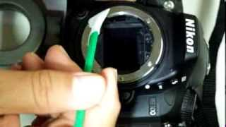 Nikon D7100 wet cleaning with Green Swab and Vdust Plus liquid