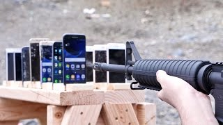 Which Phone is More Bulletproof? Samsung Galaxy vs iPhone(How Many Samsung Galaxy Phones vs iPhones Does It Take To Stop a Bullet? S7, 6S & More vs FN FAL, AR-15, AK-47 Gun Destruction., 2016-06-22T17:42:08.000Z)