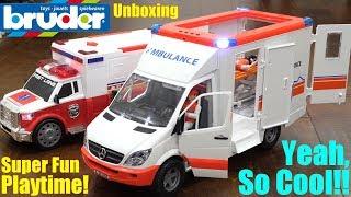 Children's TOY CARS: Bruder AMBULANCE Toy Unboxing and Playtime! Ambulance Toy Car Playtime