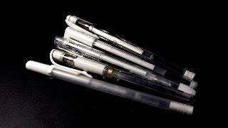 Pen Review: White Pens on Black Paper