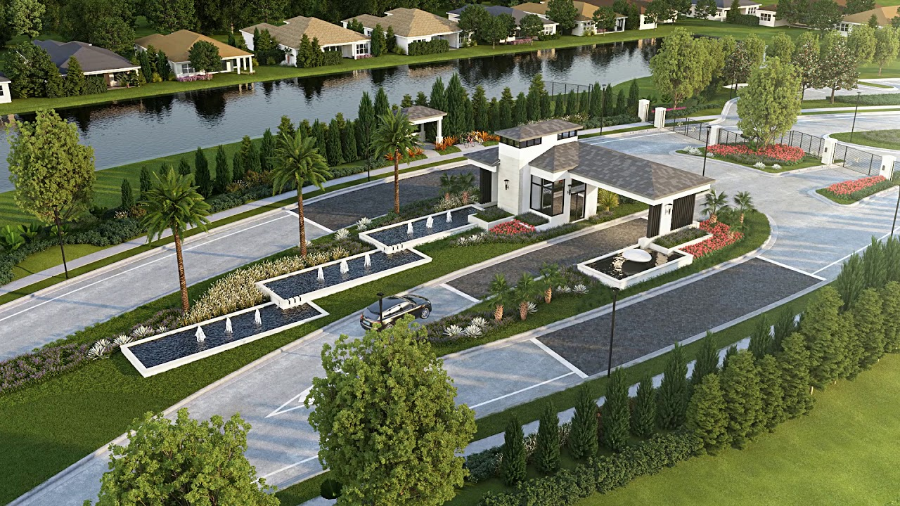 The Community Entrance at Lotus in Boca Raton, Florida | Animation on townhouse plans florida, kitchen cabinets florida, cottage plans florida, open floor plans florida, swimming pool plans florida,