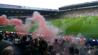 Man United fan sets flare off at west brom away