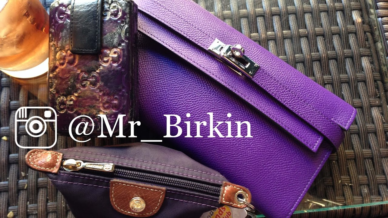 Hermes Kelly Crocus Purple Epsom Long Wallet - Mr Birkin - YouTube