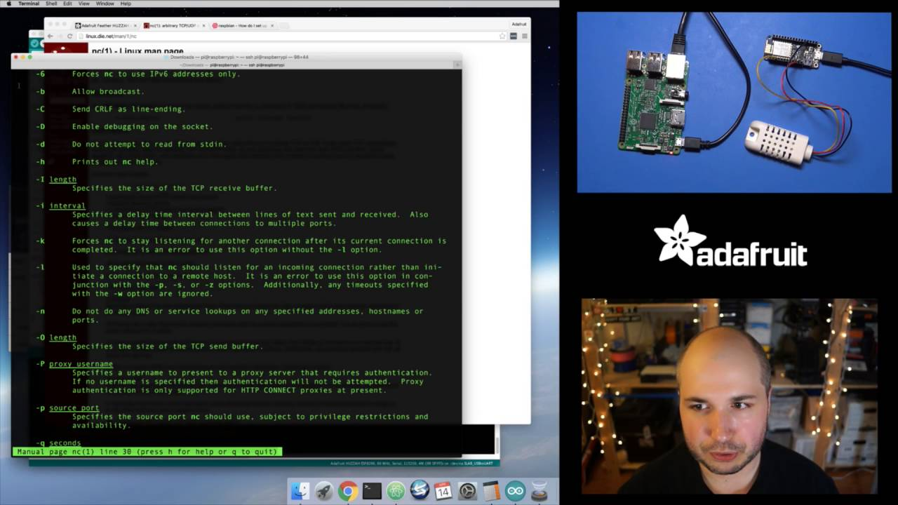 Raspberry Pi Talking to WiFi 'Things' pt  1 with Tony D! @adafruit #LIVE