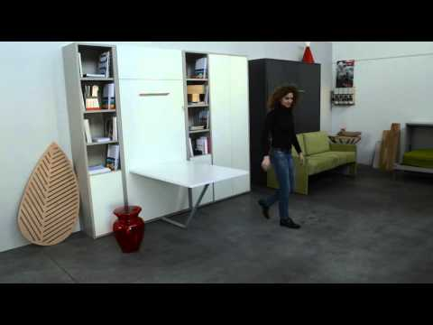 lit et table d 39 appoint escamotable nantes youtube. Black Bedroom Furniture Sets. Home Design Ideas