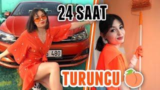 24 SAAT BOYUNCA HER ŞEY TURUNCU!!! (Turuncu Araba, Turuncu Duvar Boyası, Turuncu Kombin)