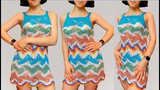 """Красивое летнее платье """"Missoni waves"""" спицами/Туника для пляжа/Удлиненный топ"""