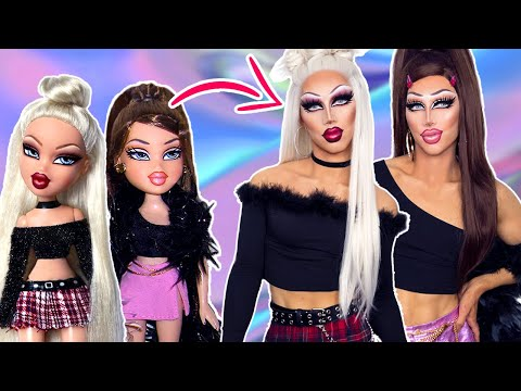TURNING INTO REAL LIFE BRATZ DOLLS (drag queen makeup/wig transformation)