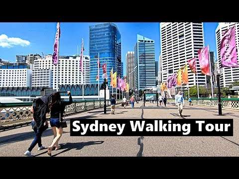 Walking SYDNEY Darling Harbour Pyrmont Bridge To Wynyard Station & Shops Around Station