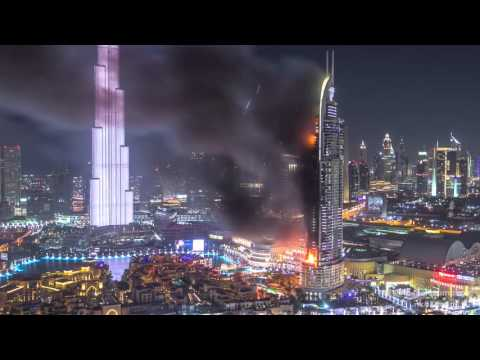 Huge Fire at The Address Downtown Dubai Luxury Hotel timelapse