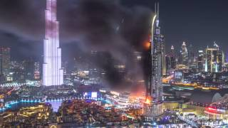Huge Fire at The Address Downtown Dubai Luxury Hotel timelapse thumbnail