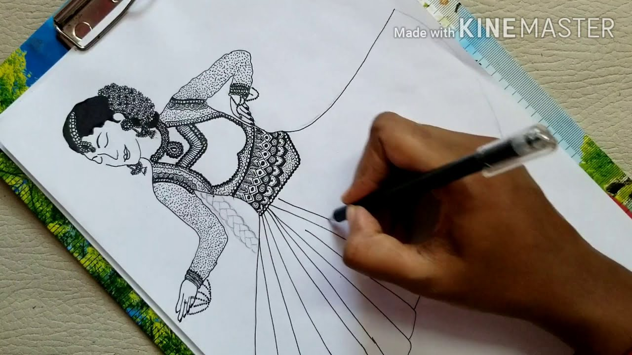How To Draw Mandala Art Inspired By Indian Traditional Dance Kathak Step By Step Diyfreehand Drawing Youtube