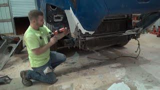 Semi truck fiberglass hood repair part 1