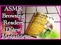 ASMR Browsing thru Readers Digest Magazine, gentle whispering, gentle gum chewing