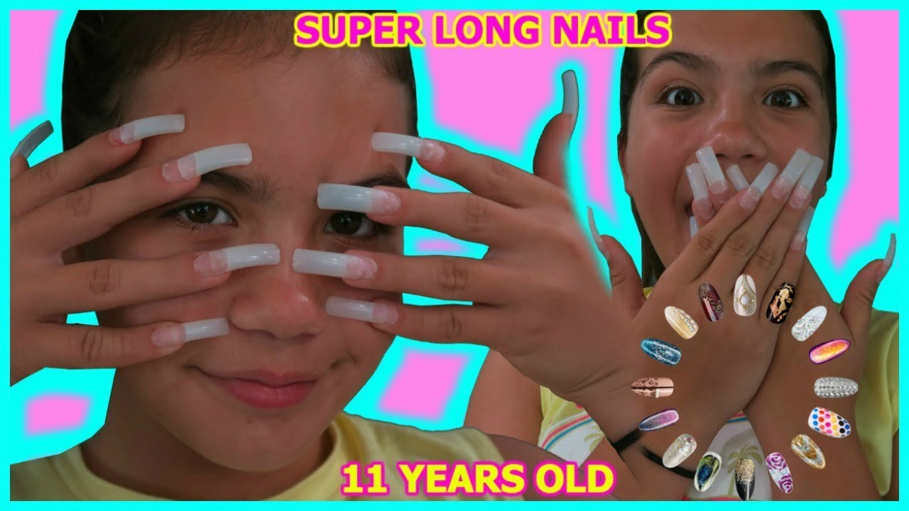 11 Year Old Gets Super Long Acrylic Nails For The First Time Sister Forever Youtube