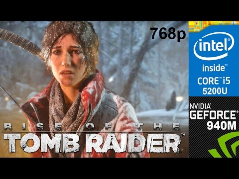 Rise of the Tomb Raider on HP 15-ab032TX, Med Setting 768p, Core i5 5200u + Nvidia Geforce 940m