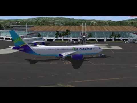 Décolage Air Caraibes Aéroport aimé césaire Martinique.