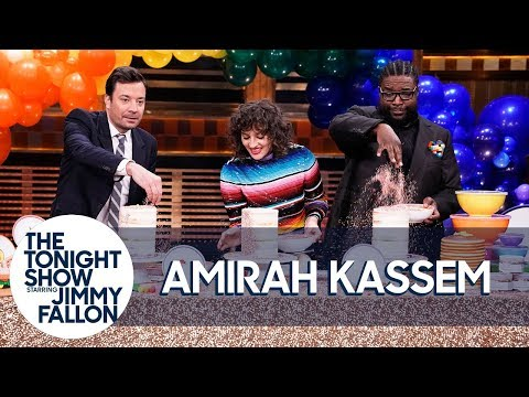 Amirah Kassem Shows Jimmy How to Make a Sprinkle-Filled Explosion Cake Using Piñatas