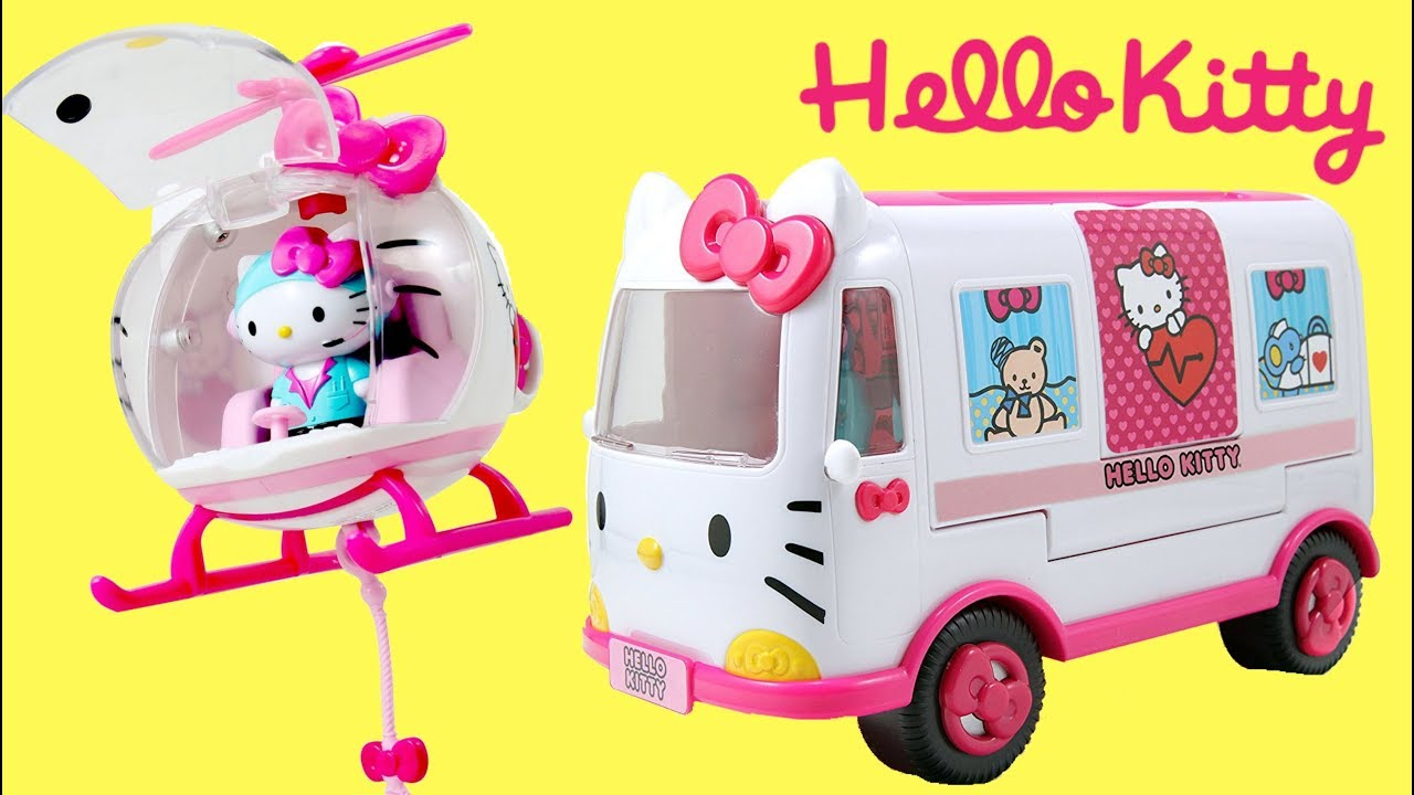 f589c4905c84 HELLO KITTY RESCUE SET with Emergency Ambulance   Helicopter TOY Hospital