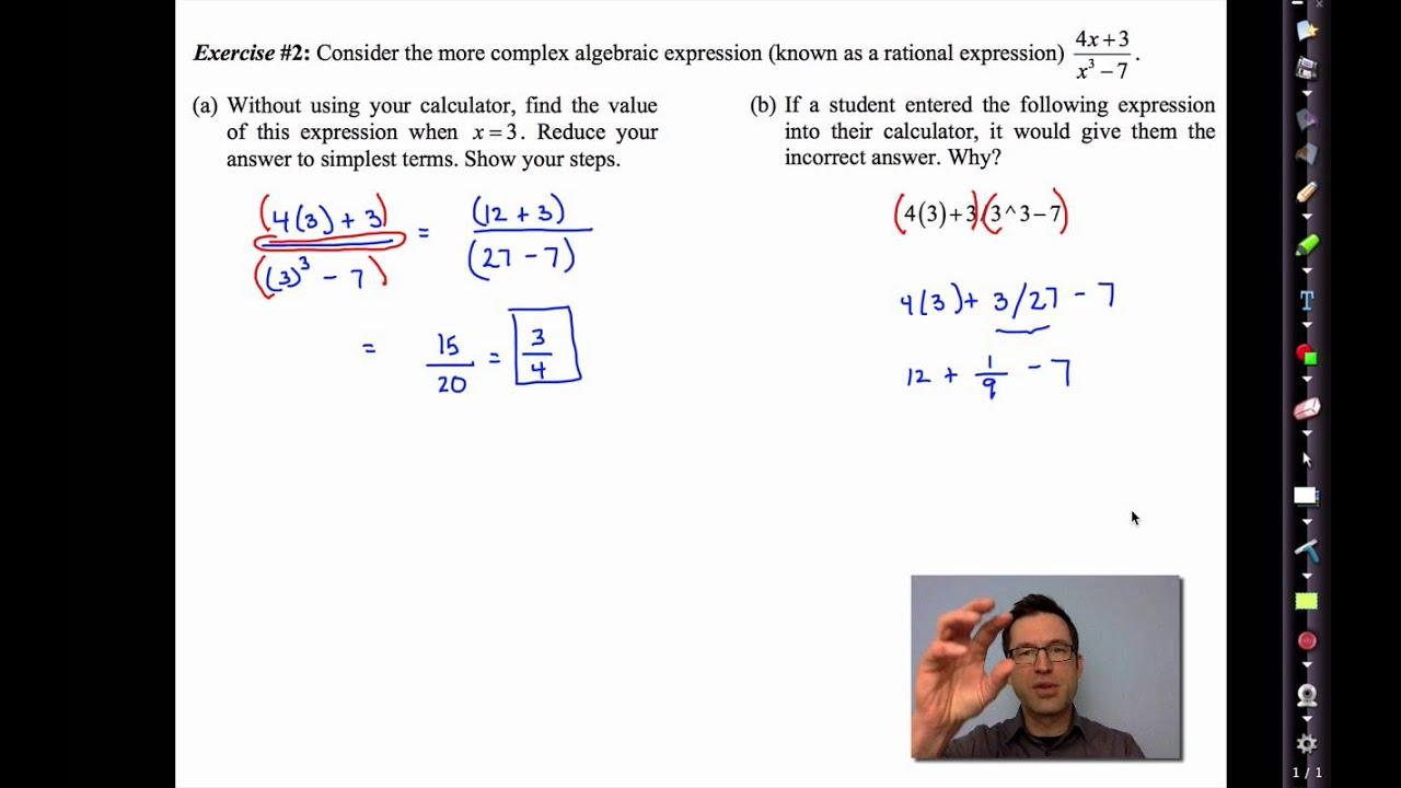 Common Core Algebra Ii Unit 1 Lesson 3mon Algebraic Expressions
