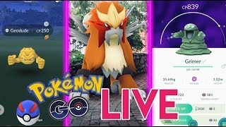 HUNTING SHINY GEODUDE AND GRIMER IN POKEMON GO! Entei AR+ Photo Shoot! (Live stream)