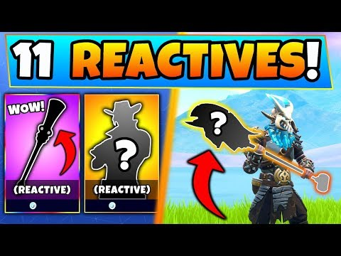 Fortnite SKINS: ALL 11 REACTIVE ITEMS With Secret Effects Ft. Pickaxes! (Battle Royale Gameplay)