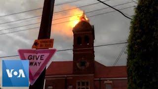 Historic Bell Tower Set Ablaze By Lightning Strike in Australia
