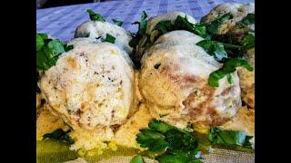 Вкусни, сочни и апетитни кюфтета с бял сос. Италианска кухня.