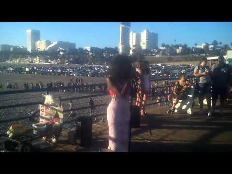 Lana singing at Santa Monica Pier to Madison from Madison Media Radio Pt.2