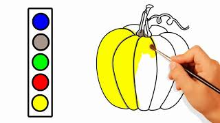 How to Draw Pumpkin Coloring Pages | How to Draw realistic Vegetables