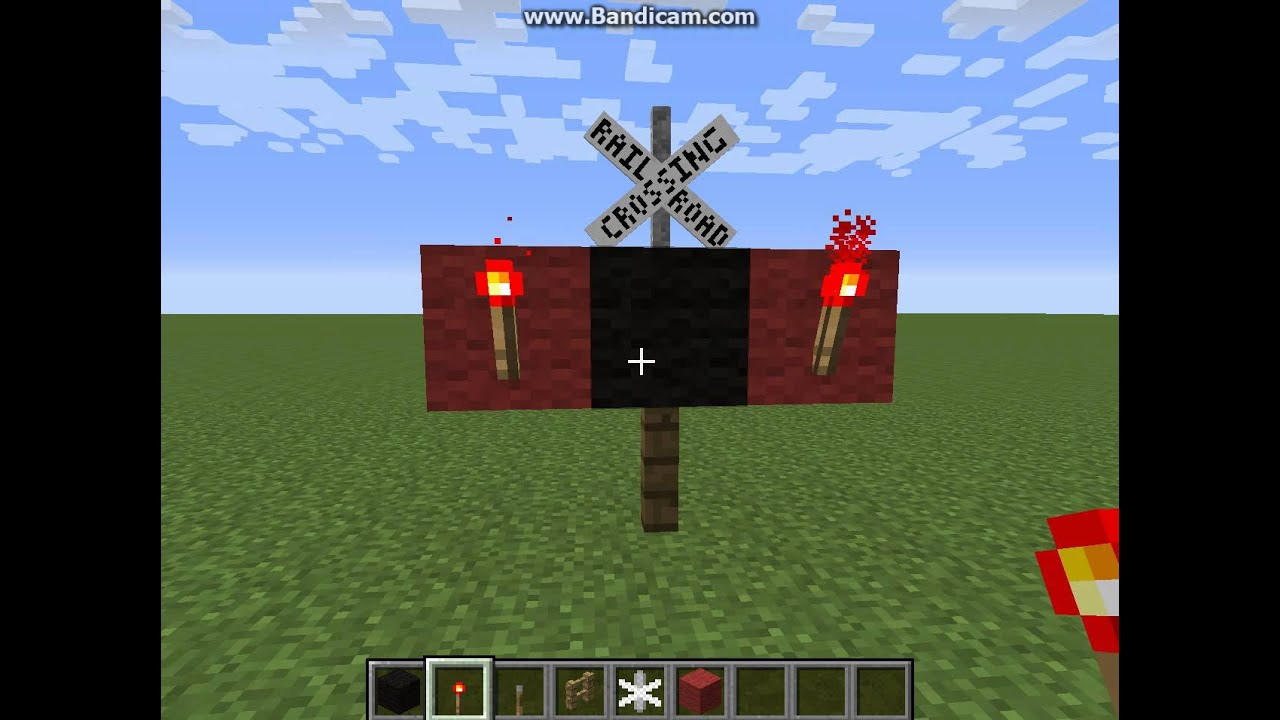 All Road Signs >> Minecraft - How To Make A Railroad Crossing Signal - Very ...