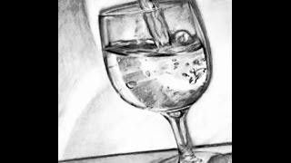 تعلم رسم كأس ماء مائل بالرصاص و الفحم  خطوة خطوة ♥