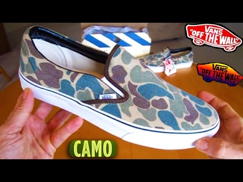 db745b4fcfe6 Vans Camo Slip-ons UNBOXING detailed look slip on shoes jeff spicoli slipons