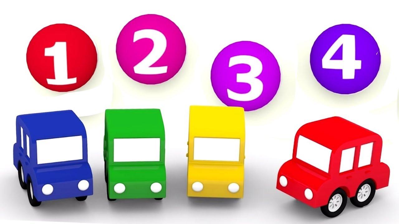 4 Carros Coloridos Os Números Para Crianças Desenho Animado