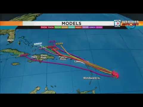 Latest Hurricane Maria (spaghetti model) | Monday, 18 September 2017