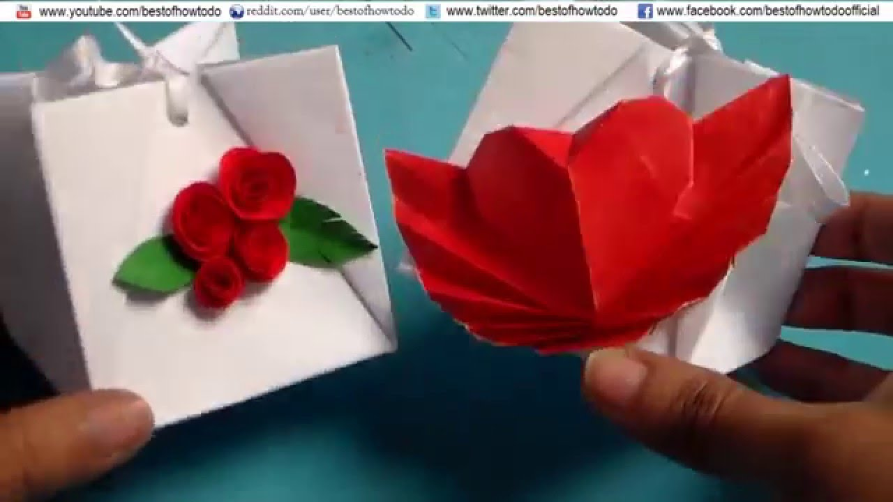 How To Make A Paper Gift Bag Easy Diy Valentine Day Youtube
