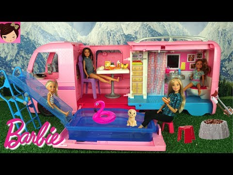 Barbie  Camper Toy with Pool Water Slide - Barbie Chelsea Stacie Skipper Outdoors RV Fun Adventure