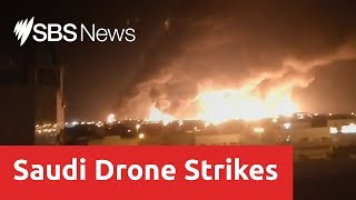 Yemeni rebel drones spark fires at two Saudi Aramco oil facilities