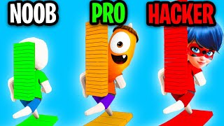 Can We Go NOOB vs PRO vs HACKER In BRIDGE RACE!? (FUNNY APP GAME!) screenshot 4