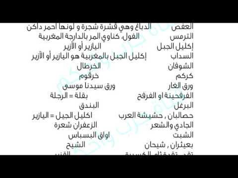 مرادفات أسماء الاعشاب...