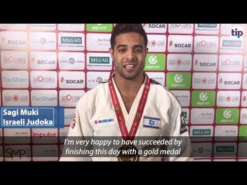 Israeli Judoka Sagi Muki after winning gold in Abu Dhabi