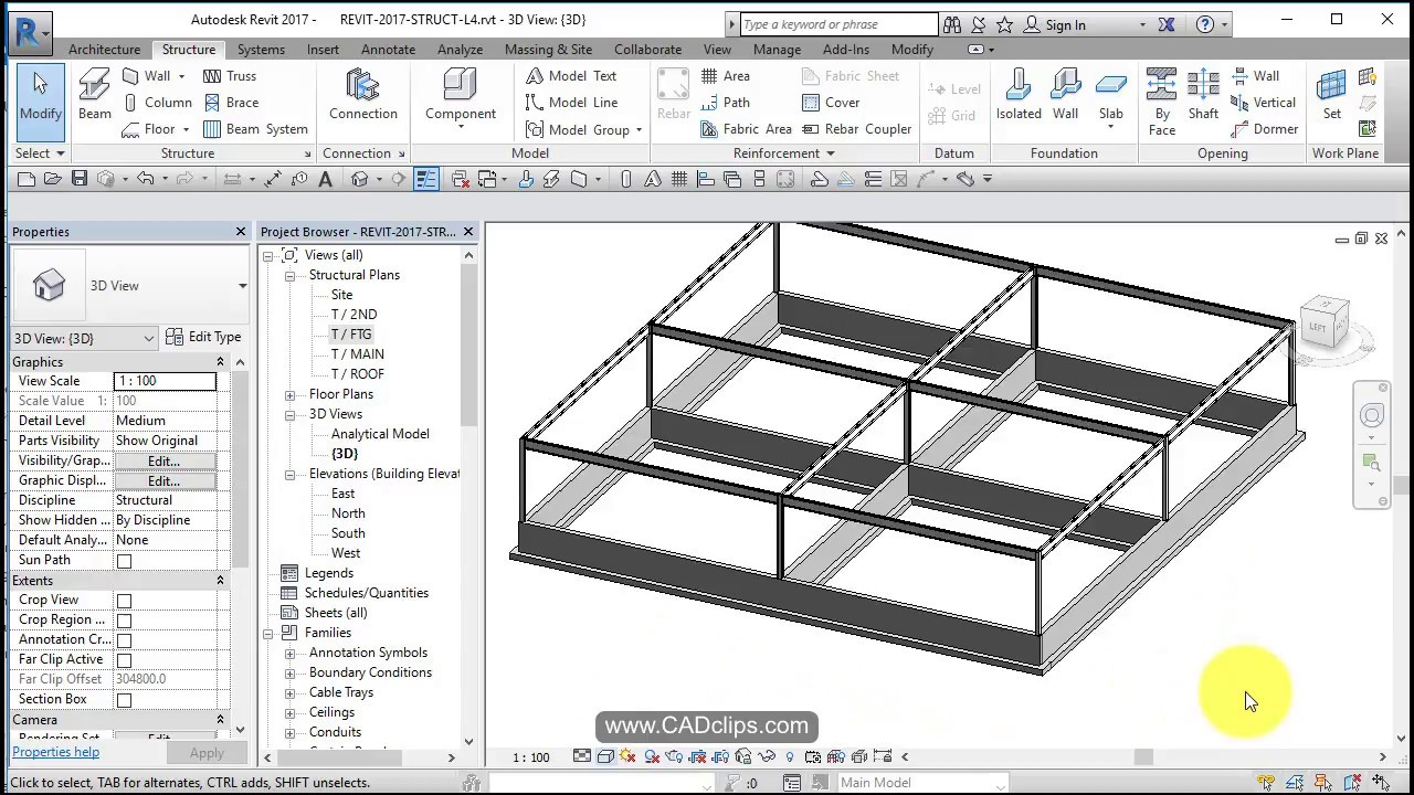 revit structural project 05 rename levels foundation walls footings align lock [ 1280 x 720 Pixel ]