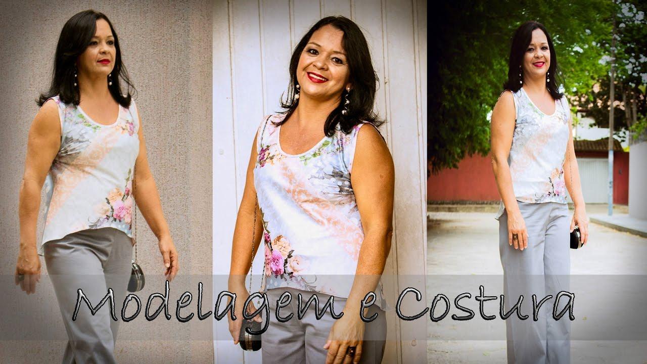 8c7eef6391 Modelagem e Costura  Como fazer Blusinha de Cetim no Viés - YouTube